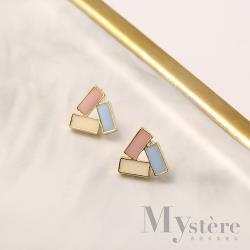 【my stere 我的時尚秘境】925銀針~少女糖果色三角簡約耳環