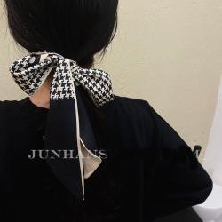 梨花HaNA  韓國法式黑白千鳥印象慵懶絲帶.絲巾飄帶可綁包包頭髮