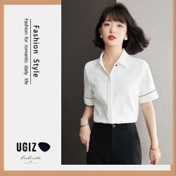 【UGIZ】修身立領開襟衫簡約素色造型上衣(M~XL)