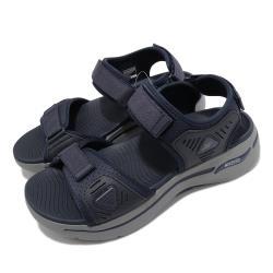 Skechers 涼鞋 Go Walk Arch Fit 男鞋 專利鞋墊 避震 緩衝 魔鬼氈 穩定 回彈 藍 灰 229020NVBL