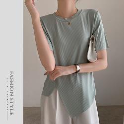 【GF 快時尚】V領素色簡約不規則下擺造型上衣(F)