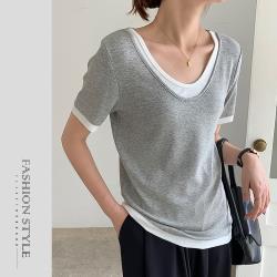 【GF 快時尚】時尚V領簡約素色造型上衣(F)