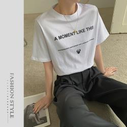 【GF 快時尚】圓領素色英文字母造型上衣(F)
