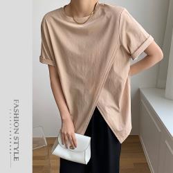 【GF 快時尚】時尚簡約圓領素色交叉下擺上衣 (F)