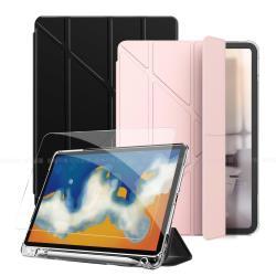 Aisure for iPad 2018/iPad Air/Air 2/Pro 9.7吋 共用 清新Y型多折保護套+專用玻璃組合