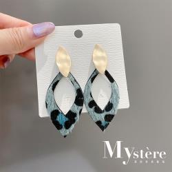 【my stere 我的時尚秘境】設計款-時尚藍綠豹紋絨毛垂墜耳環