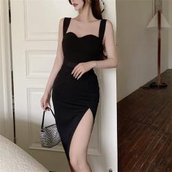 Sexy Devil-黑色晚宴款吊帶開叉裙襬小洋裝S-L