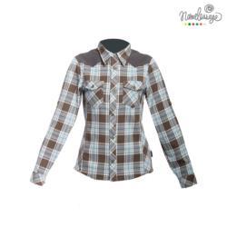 日本namelessage無名世代女款格紋襯衫(綠格)_52W602