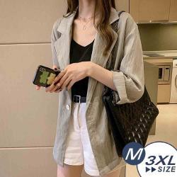 【LANNI 藍尼】現+預 時尚氣質薄款棉麻西裝外套(棉麻/西裝外套)