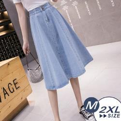 【LANNI 藍尼】現+預 隨性鬆緊高腰牛仔傘裙(半身裙/高腰長裙/裙子)