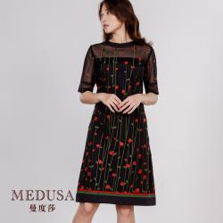 現貨【MEDUSA 曼度莎】玫瑰刺繡小禮服洋裝