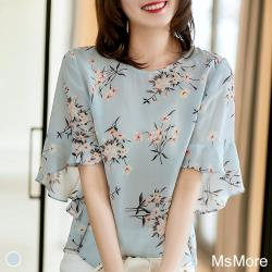 【MsMore】新娘捧花印花冰雪紡荷葉袖寬鬆上衣#107212現貨+預購j(藍色)