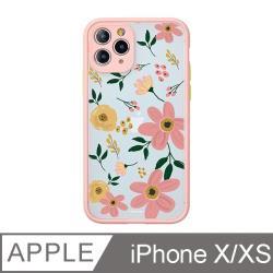 iPhone X/Xs 5.8吋 Fleur浪漫花語霧面防摔iPhone手機殼 綿綿粉