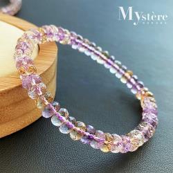 【my stere 我的時尚秘境】天然紫黃水晶圓形刻面造型手鍊