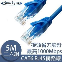 NewSync Cat6超高速乙太網路傳輸線 5M/2入