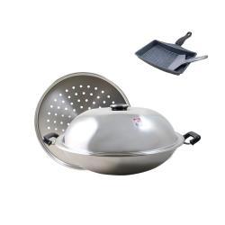 斑馬ZEBRA複合金雙耳炒鍋42CM-附蒸盤176202加贈雞蛋捲鍋