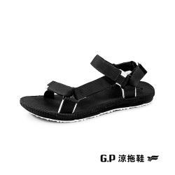 G.P(女)【Charm】撞色織帶涼鞋 女鞋-黑(另有米)
