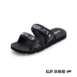G.P(男)簡約織帶風格雙帶拖鞋 男鞋-白黑(另有橘)