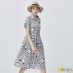 MONS印花格紋寬鬆棉麻洋裝