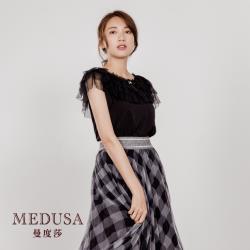 現貨【MEDUSA 曼度莎】多層圓點紗領素色上衣(M-2L)