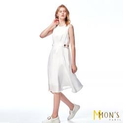 MONS 絲光感無袖A-Line洋裝