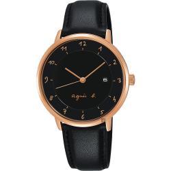 agnes b. 法國時尚簡約風情女錶-黑x玫塊金框x黑/33mm VJ12-KY40P(B4A005J1)