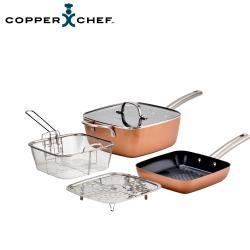 【Copper Chef】黑鑽方型雙鍋5件組(24cm方炒鍋+20cm 方煎鍋)
