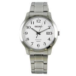 【SEIKO 精工】時尚石英男錶 不鏽鋼錶帶 藍寶石水晶 白色錶盤(SGEH67P1)