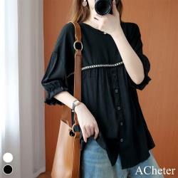 【ACheter】絲光棉花瓣感寬鬆五分袖長版上衣#108986現貨+預購(2色)