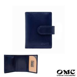 【OMC】義大利植鞣革5卡1照直式牛皮小短夾(深藍)