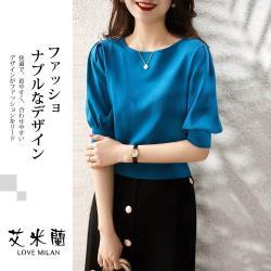 【艾米蘭】韓版圓領燈籠袖簡約素色造型上衣(M~XL)