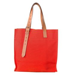 【HERMES】展示品 Etriviere Bag布面可調式背帶直式肩背(橘)