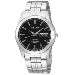 【SEIKO 精工】簡約時尚石英男錶 不鏽鋼錶帶 藍寶石水晶 黑色錶盤(SGG715P1)