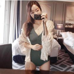 【米蘭精品】蝙蝠袖罩衫蕾絲外套-鏤空繡花寬鬆短款3色74ab45