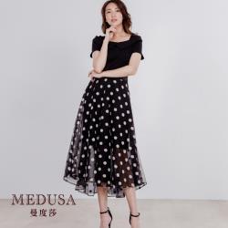 【MEDUSA 曼度莎】船領小菊花繡花紗裙洋裝(M-XL)現貨