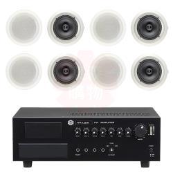 商業空間 SHOW TPA-120M 擴大機+AV MUSICAL HSR-108-6T 崁入式喇叭 X8支