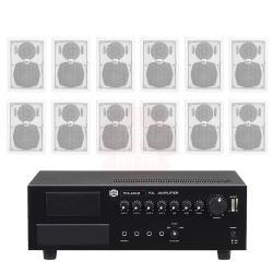 商業空間 SHOW TPA-240M 擴大機+AV MUSICAL QS-61POR 壁掛喇叭(白) X12支