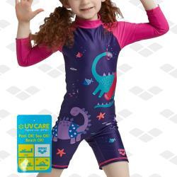 arena 兒童泳衣 KSS1706UK 兒童青少年連體五分泳衣男女防曬可愛印花溫泉泳衣 限量 春夏新款