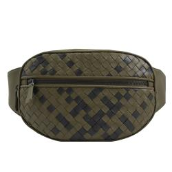 BOTTEGA VENETA 570985 撞色編織羊皮三用腰包/胸口包.綠黑