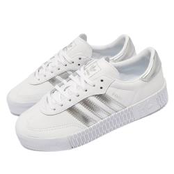 adidas 休閒鞋 Sambarose W 穿搭 女鞋 海外限定 愛迪達 舒適 簡約 皮革 白 銀 EE9017 [ACS 跨運動]