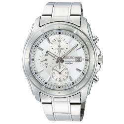 【SEIKO 精工】三眼賽車計時男錶 不鏽鋼錶帶 白面 防水100米 強化礦物玻璃鏡面(SNDB61P1)