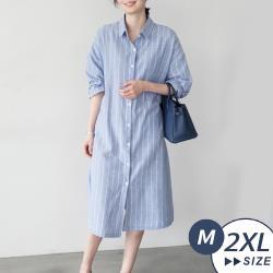 【LANNI 藍尼】現+預 韓風氣質條紋襯衫連身裙(襯衫/連身裙/條紋/長版上衣)