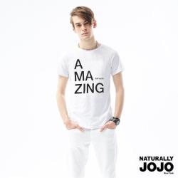 【NATURALLY JOJO】Black & White VoiceT-shirt-不可思議AMAZING (白)