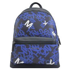 MICHAEL KORS COOPER 滿版LOGO印花 品牌LOGO雙肩後背包.藍/黑