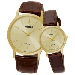 【SEIKO 精工】指針太陽能石英情侶對錶 皮革錶帶 金色錶面 生活日常防水(SUP302P1 + SUP870P1)