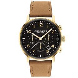 COACH 簡約時尚三眼計時錶/黑X咖啡/42mm/CO14602541