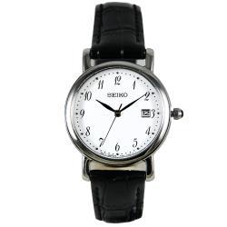 【SEIKO 精工】氣質石英女錶 皮革錶帶 防水30米 白色錶面(SXDA13P1)