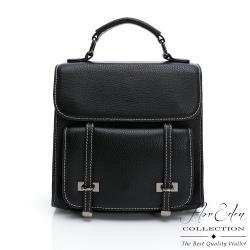 DF Flor Eden - 日系學院風真皮手提肩背後背包-黑色