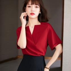 沐朵-優雅貴氣紅V領設計感襯衫S-2XL