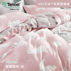 R.Q.POLO 100%天絲萊賽爾 四件式兩用被床包組 慵懶貓咪 粉(雙人)